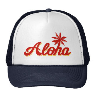 Aloha Hawaii Vintage Palm Tree Trucker Hat