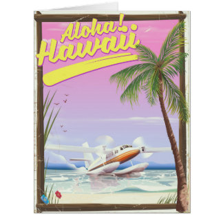 Aloha! Hawaii Vintage style travel poster Card
