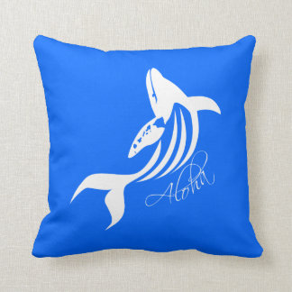 Aloha Hawaii Whale Throw Pillow