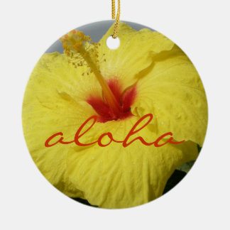 Aloha, Hawaii Yellow Hibiscus Ceramic Ornament