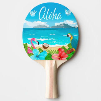 Aloha hawaiian beach with flamingo and flowers ping pong paddle