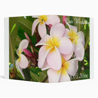 Aloha Hawaiian Frangipani Blossoms Bridal Luau 3 Ring Binder