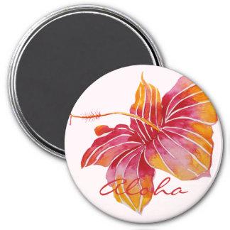 Aloha | Hawaiian Hibiscus Flower Round Magnet