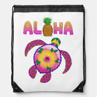 Aloha Hawaiian Honu Turtle Drawstring Bag