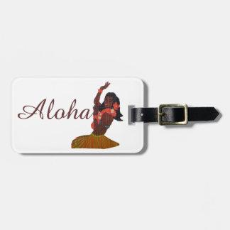 Aloha Hawaiian Hula Dancer Luggage Tag