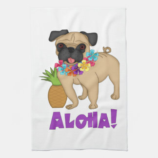 Aloha! Hawaiian Luau Pug and Pineapple Tees, Gifts Hand Towels