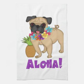Aloha! Hawaiian Luau Pug and Pineapple Tees, Gifts Kitchen Towel