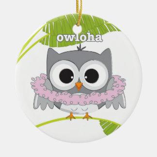 Aloha Hawaiian Owl Round Ceramic Ornament