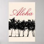 Aloha Hawaiian Palm Trees Tropics Travel Poster