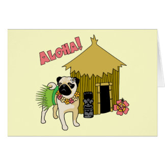 Aloha! Hawaiian Pug Greeting Cards