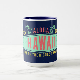 Aloha Hawaiian Surfer custom name mugs