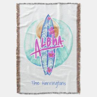 Aloha Hawaiian Surfer custom name throw blanket