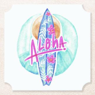 Aloha Hawaiian Surfer paper coasters