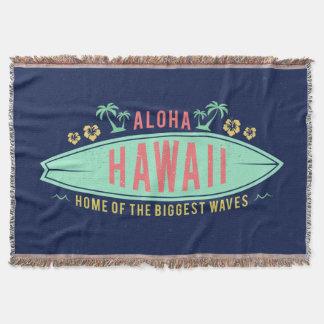 Aloha Hawaiian Surfer throw blanket