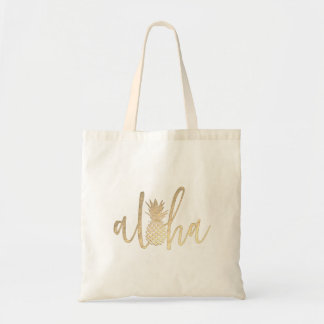 aloha hawaiian tropical golden calligraphy tote bag
