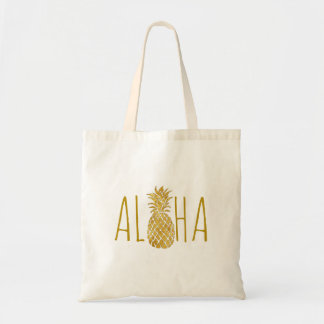 aloha hawaiian tropical golden pineapple tote bag