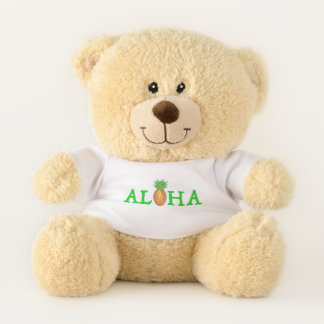 ALOHA Hello Tropical Hawaiian Island Pineapple Teddy Bear