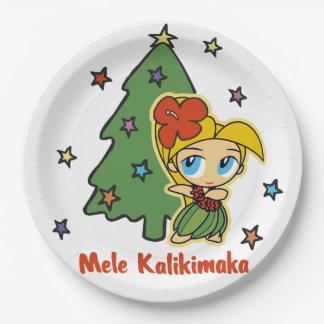 Aloha Honeys Christmas Blond Hula Girl Paper Plate