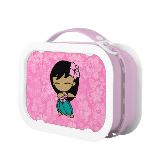 Aloha Honeys Hawaiian Hula Girl Floral Lunch Boxes