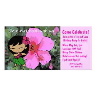 Aloha Honeys Luau Invite Photo Card Template