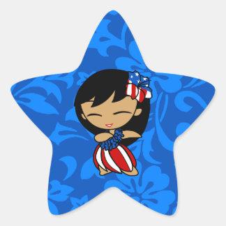 Aloha Honeys Patriotic Hula Girl Star Stickers