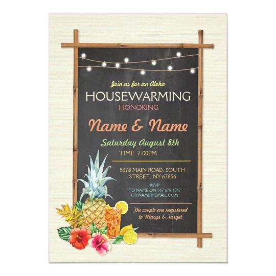 Aloha Housewarming Luau Tiki New Home Invite