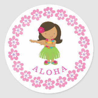 Aloha Hula Dancer Classic Round Sticker