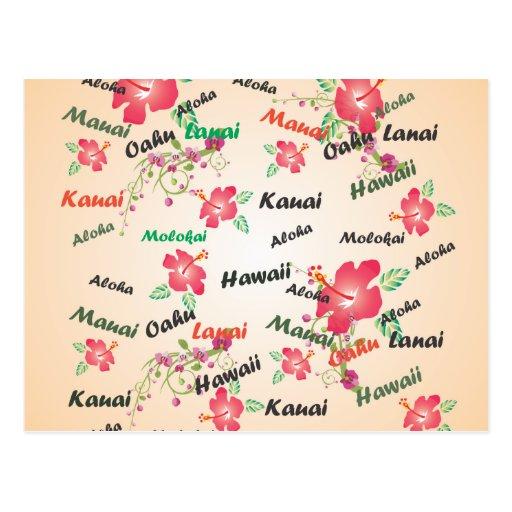 aloha, kauai, hawaii, oahu, maui, lanai background post card