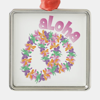 Aloha Lei Silver-Colored Square Ornament