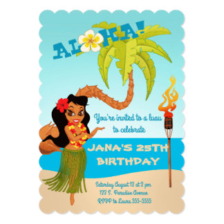 Aloha Luau Birthday Party Card
