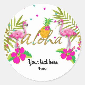 Aloha Luau Girls Tropical Flamingo Party Favor Classic Round Sticker