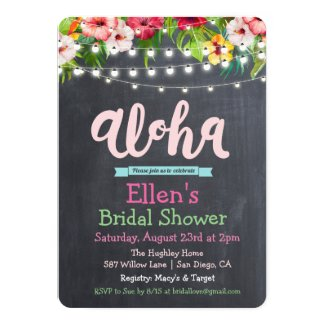 Aloha Luau Tropical Bridal Shower Invitation