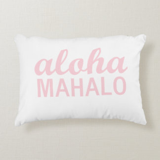 Aloha Mahalo Typography in Light Pink Decorative Pillow