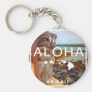 Aloha No 50 Tiki Basic Round Button Keychain