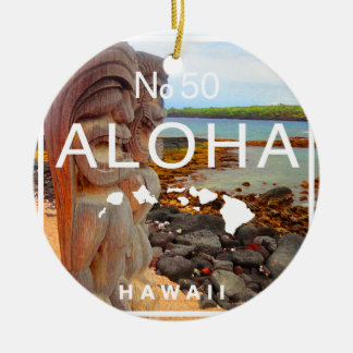 Aloha No 50 Tiki Ceramic Ornament