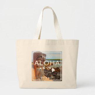 Aloha No 50 Tiki Large Tote Bag