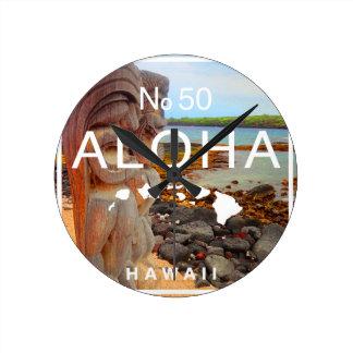 Aloha No 50 Tiki Round Clock