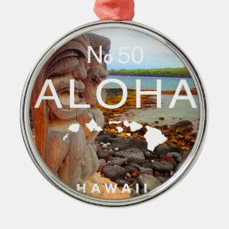 Aloha No 50 Tiki Silver-Colored Round Ornament