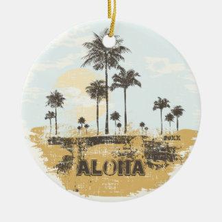 Aloha Palm Trees Tropical Christmas Ornament