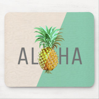 Aloha Pineapple, Linen Texture Beige & Green Mouse Pad