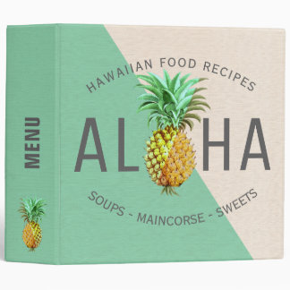 Aloha Pineapple, Linen Texture Tropical Recipes 3 Ring Binder