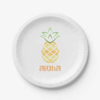 Aloha Pineapple Paper Plates, luau, beach party Paper Plate