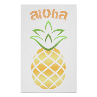 Aloha Pineapple Poster Sign