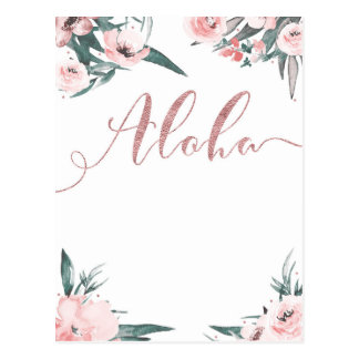 Aloha Pink Tropical Floral Modern Save the Date Postcard