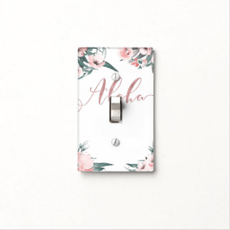 Aloha Pink Tropical Floral Modern Watercolor Light Switch Cover