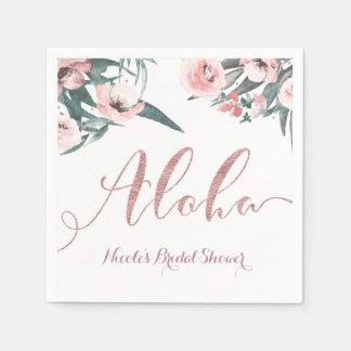 Aloha Pink Tropical Summer Floral Bridal Shower Paper Napkin