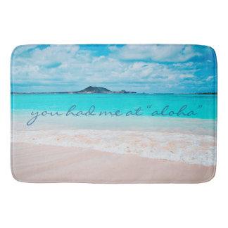 """Aloha"" Quote Turquoise Ocean & Sandy Beach Photo Bath Mat"