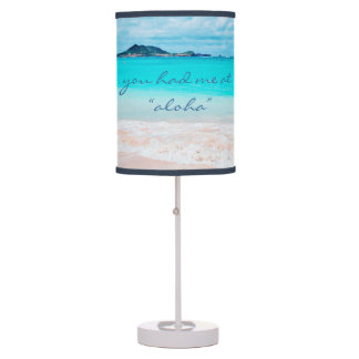 """Aloha"" Quote Turquoise Ocean & Sandy Beach Photo Table Lamp"