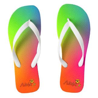 Aloha Rainbow Flip Flops