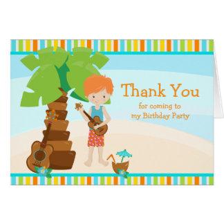 Aloha Red Hair Boy Thank You Card
